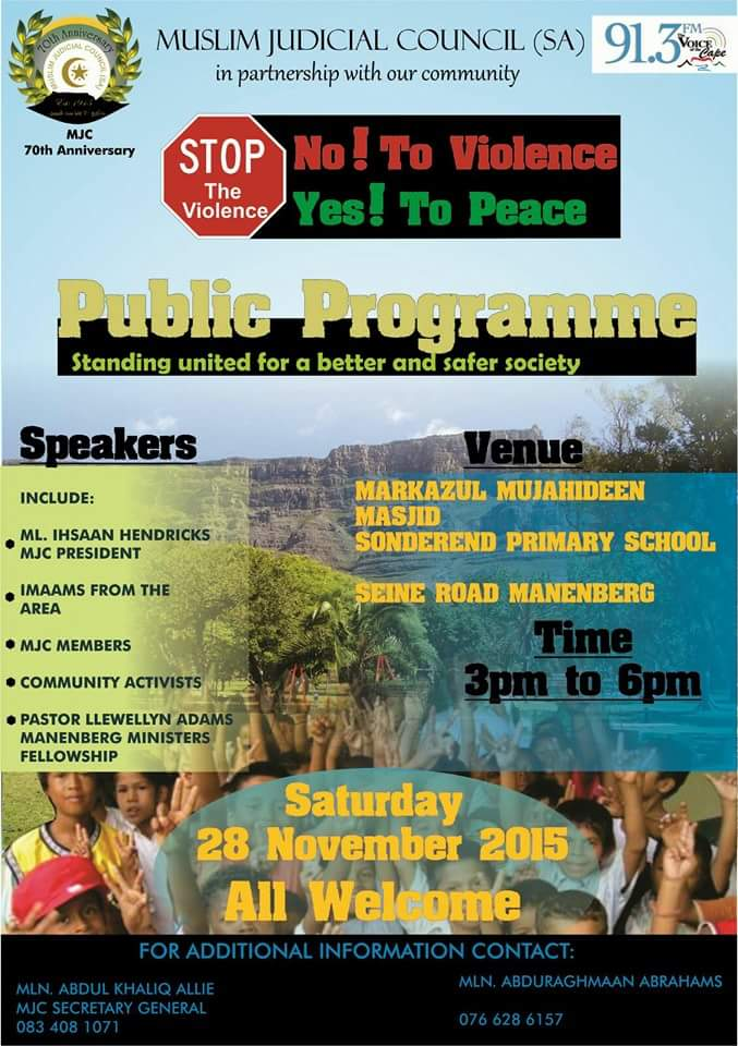 - IMG 20151124 WA0006 - MJC – A call to restore peace and an end to violence