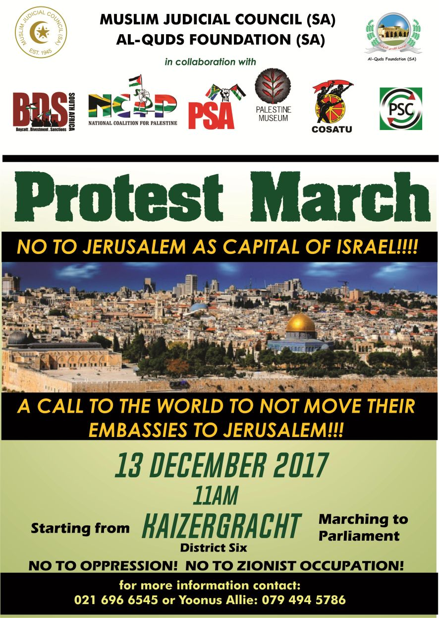 address of nkosi zwelivelile mandla mandela on the eve of the anti-zionist protest march. - Protest March 13 12 17 - Address of Nkosi Zwelivelile Mandla Mandela on the eve of the Anti-Zionist Protest March.