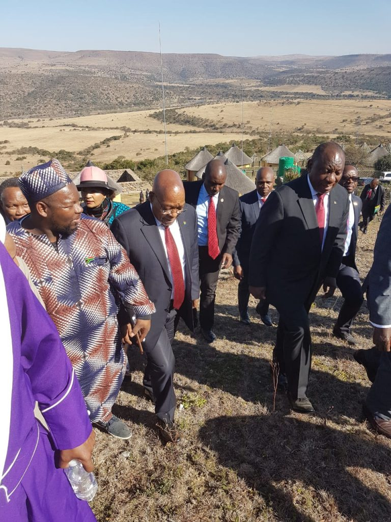 From left, Brother Nazeem Ntintili, MJC member from the Township community with Former President Jacob Zuma and current President Cyril Ramaphosa. dua at the opening of nelson mandela's centenary celebrations - IMG 20180718 WA0042 768x1024 - Dua at the opening of Nelson Mandela's centenary celebrations