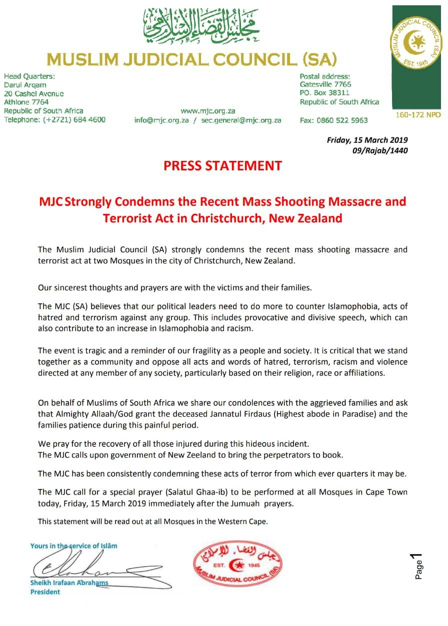 - New Zealand Statement - MJC Condemns Terror Attacks on New Zealand Mosques