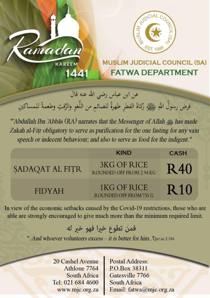 - IMG 20200420 WA0075 721x1024 - Fitra and Fidyah Amounts: Ramadhan 2020