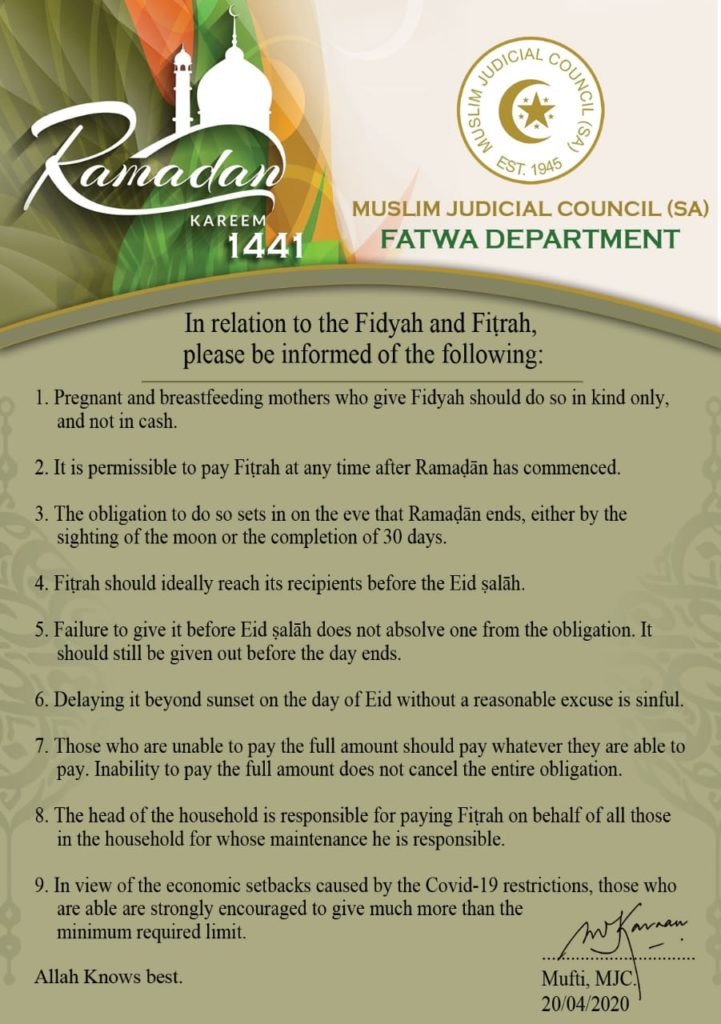 - IMG 20200420 WA0076 721x1024 - Fitra and Fidyah Amounts: Ramadhan 2020