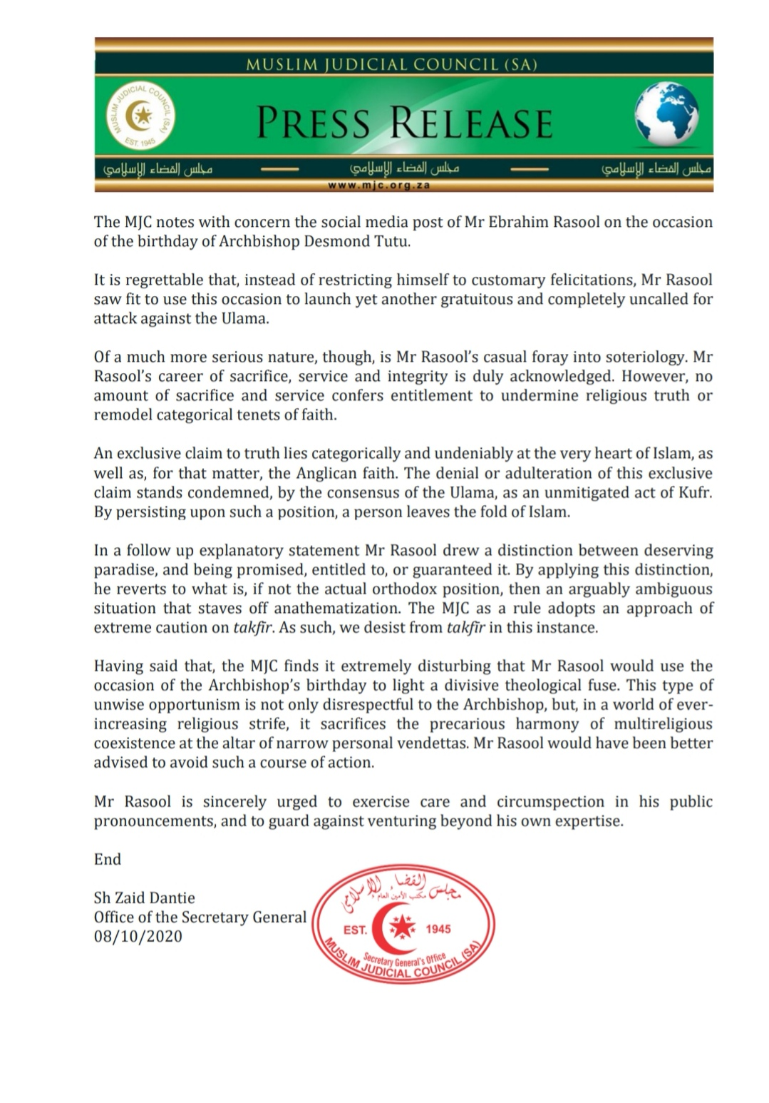 - rasool - MJC (SA) Statement regarding Mr Ebrahim Rasool's Social Media Faux Pas