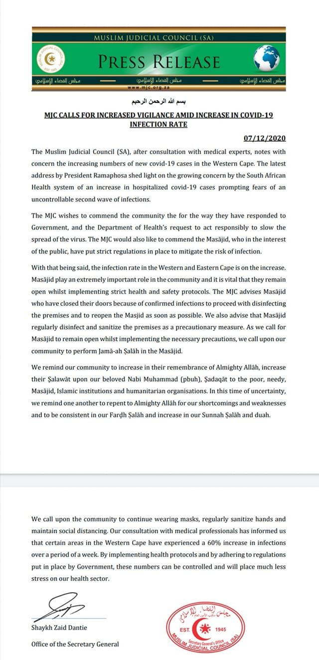 - statement 2nd wave - In lieu of second wave, MJC (SA) calls for vigilance