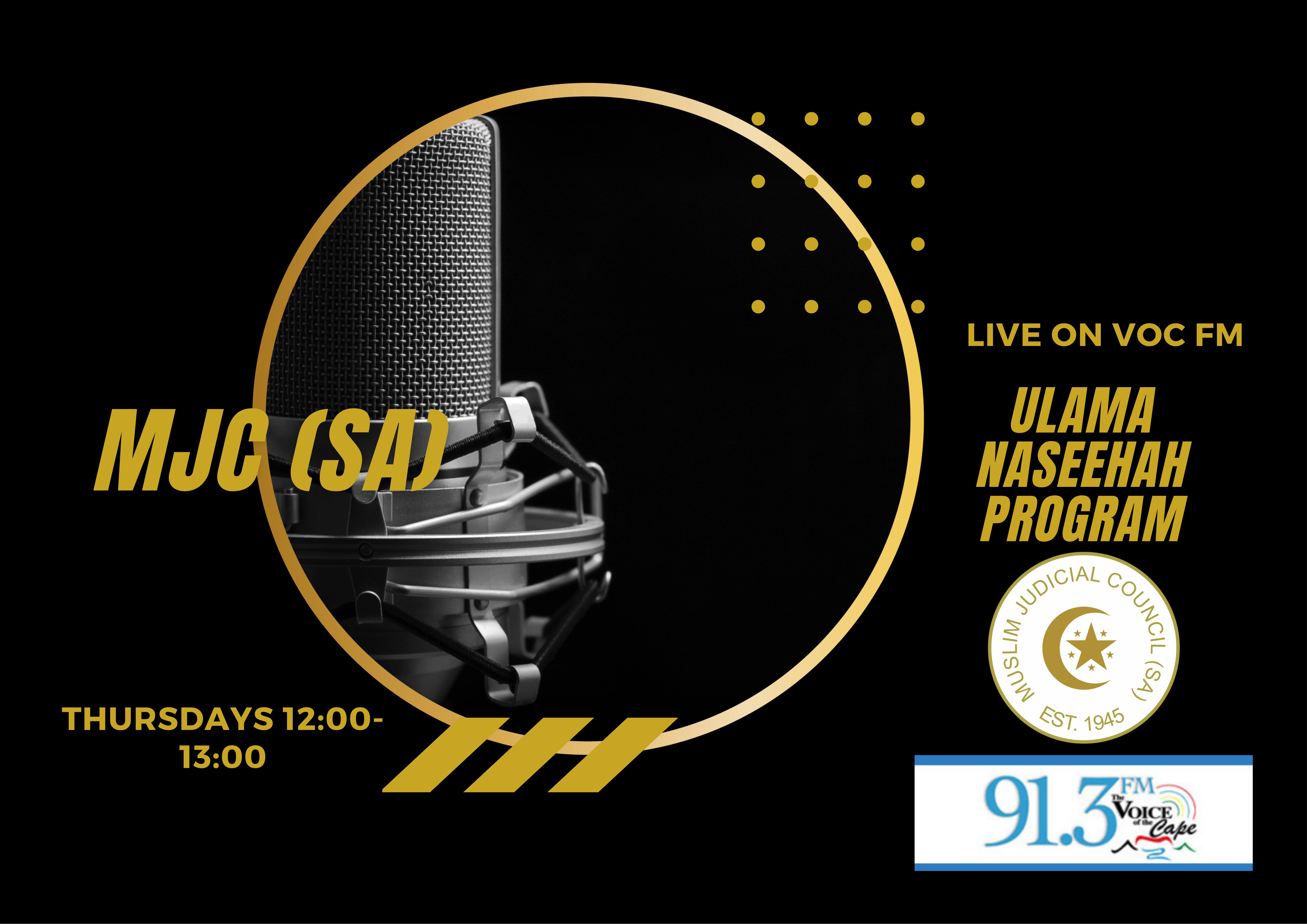 - mjc SA - MJC (SA) radio naseehah on VOC FM